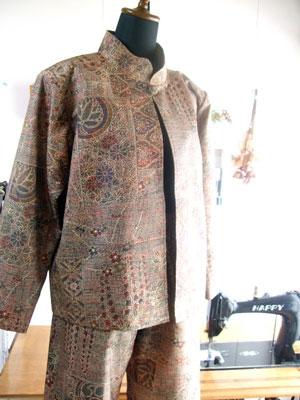 熊本のお客様の着物をパンツスーツにリメイク
