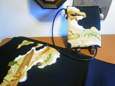 着物リフォームブログ@留袖リメイクの制作実例…ストールとショルダーバッグ編
