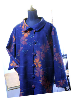 製作実例@納品後すぐにお電話を頂いた紬からリメイクしたスプリングコート