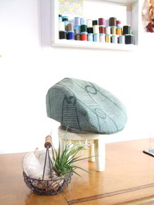 製作実例@夏の着物を『ハンチング帽子』『日傘』『グラニーバッグ』にリメイク