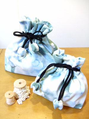 製作実例@羽織から…「巾着」に着物リメイク