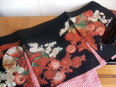 製作実例@お店用に着物リメイク!留袖から暖簾へリメイク&子供用着物からコースター