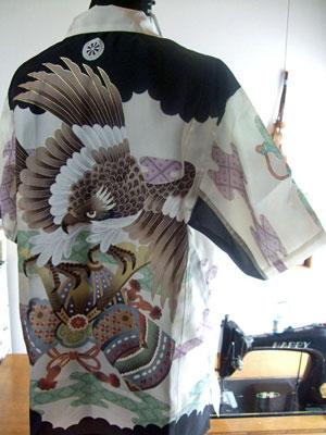 製作実例@お宮参り用の一つ身からリメークしたアロハシャツ