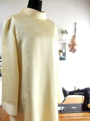 カナタツブログ@お客様要望の型紙をアレンジして着物リメイク!「タートルネックのワンピース」編