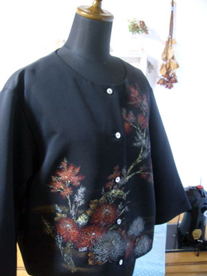 製作実例@羽織からリメイクしたジャケット/ウールの着物からリフォームした作務衣
