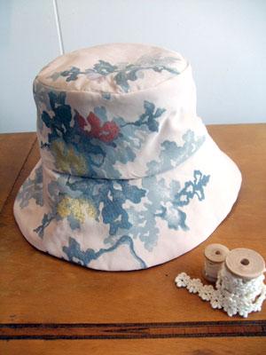 着物リメイク@羽織から…帽子(クロッシェ)と家紋入り手提げバッグをリメイク