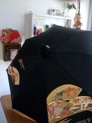 製作実例@8月8日~13日・新宿伊勢丹でお会いする方に納品した着物リメイク日傘