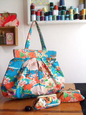 カナタツブログ@古い子供用の着物からのリメイク…印鑑ケースとグラニーバッグ