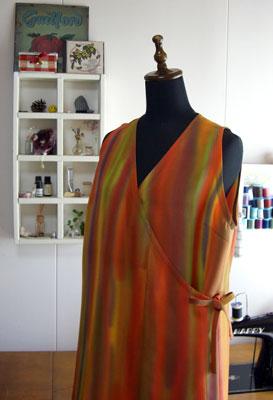 着物リメイクブログ@道行コートと帯からロングベストにリメイクしました。