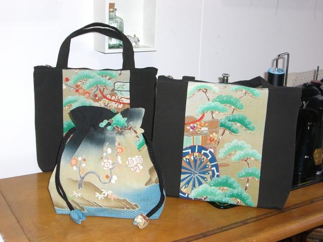 着物リメイクブログ@留袖リメイク...ハンドバッグと巾着を作る
