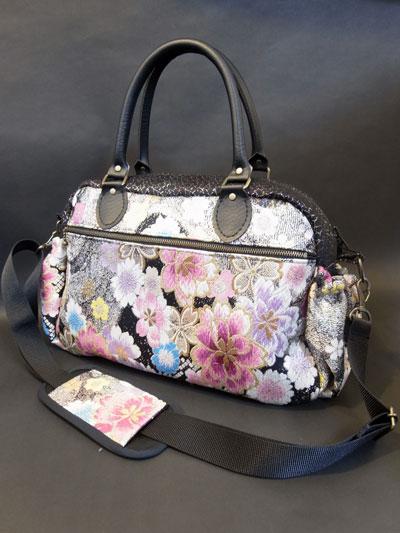 着物リメイクブログ@袋帯リメイクの制作実例…ボストンバッグ&ハンドバッグ