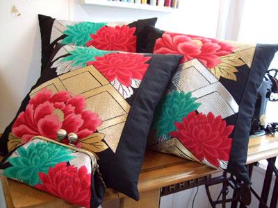 帯リメイク制作実例クッションとポシェット 名古屋のお客様もお気軽にご相談ください。