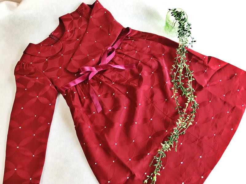 七宝柄と麻の葉柄の着物リメイクで子ども用ワンピースを製作!