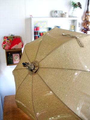 道行コートをリメイクして日傘、羽織をリメイクして日傘