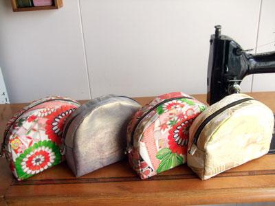 着物のハギレ、帯のはぎれでポーチを作る