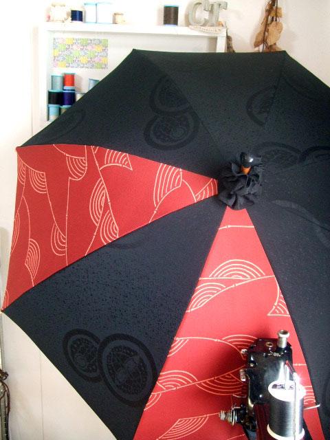 羽織をリメイクして冠婚葬祭バッグと日傘製作