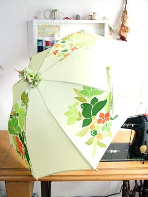 羽織からリメイクしたハンドバッグと日傘