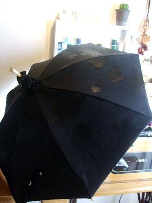 羽織や道行コートから日傘をリメイク・リフォーム(黒の日傘3本編)