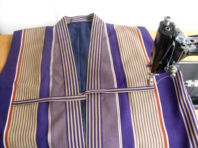 日傘を断念した古い着物からのリメイク…ちゃんちゃんこ/ベスト