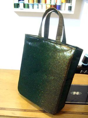 縮緬の着物生地からハンドバッグリメイク&帯のリフォームハンドバッグ