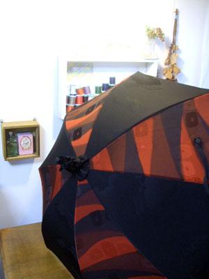 2枚の羽織を組み合わせて1本の日傘をリメイクする