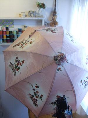 着物リメイク日傘に日傘カバーを付けると生地が無駄になりません。