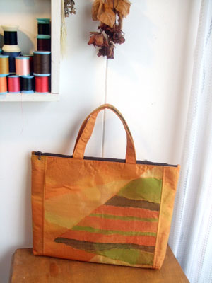 名古屋帯リメイクのハンドバッグを作る