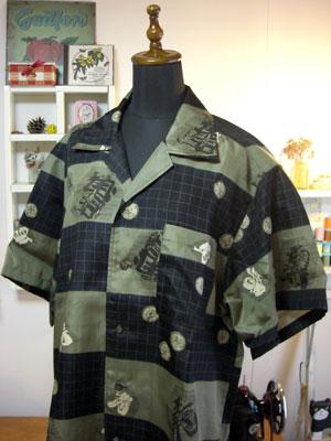 長襦袢着物リメイクのアロハシャツ【メンズ編】