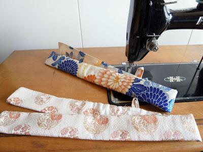 ミシンで作れるものはチャレンジします!着物から笛入れにリメイク。