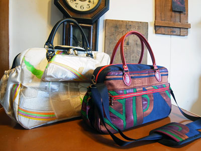 着物リフォームブログ@帯リメイクボストンバッグ2種類をご紹介します。